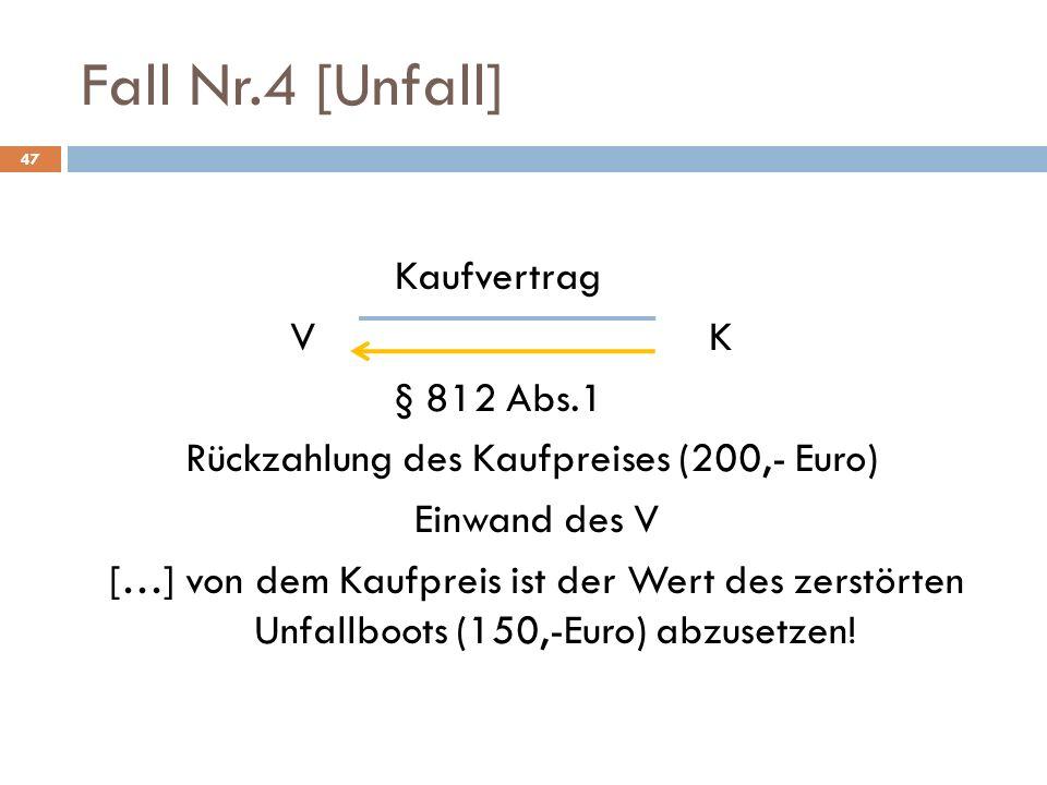 Fall Nr.4 [Unfall] Kaufvertrag V K § 812 Abs.1